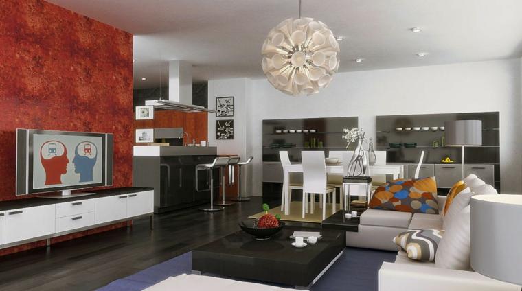 idea per come arredare salotto e sala da pranzo insieme con mobili moderni bianchi, parete tv rossa