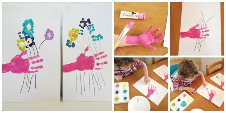 immagini tutorial per realizzare dei disegni festa della mamma con le impronte della mani