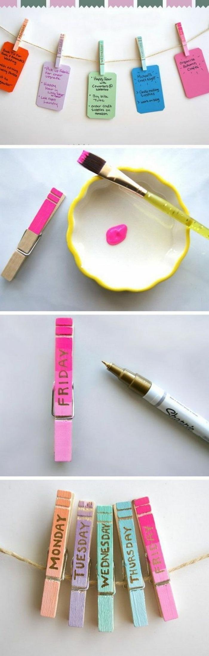 esempio per oggetti fai da te delle mollette per il bucato in legno colorate e decorate