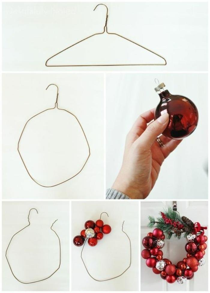 ghirlanda natalizia realizzata utilizzando una gruccia per gli abiti in metallo