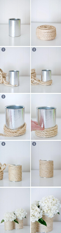 immagini tutorial per realizzare fai da te oggetti creativi, un vaso per i fiori decorato con la corda