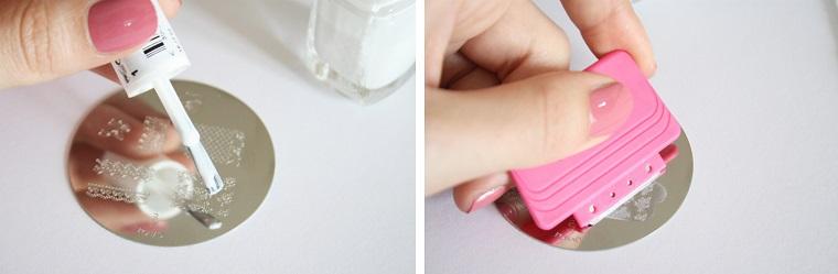 Smalto bianco applicato sul timbro, decorazioni manicure con motivi floreali, unghie semplici ed eleganti