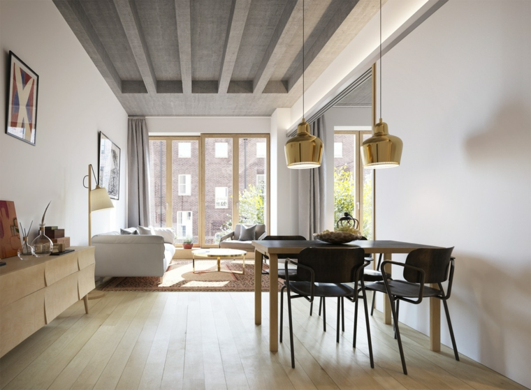 Come arredare un soggiorno rettangolare, tavolo da pranzo di legno, pavimento in laminato