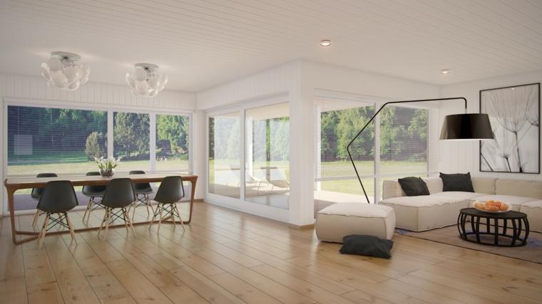 idea per arredare soggiorni moderni con divani bianchi e cuscini neri, tavolo da pranzo per sei, ampie vetrate e parquet