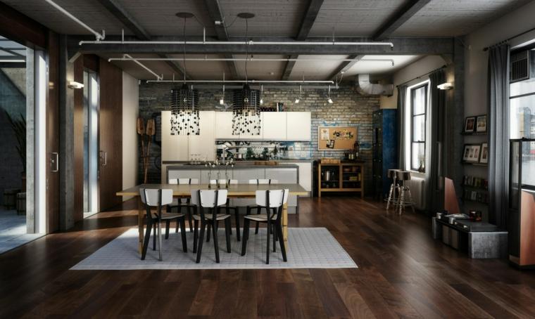 Loft industriale con mobili di legno, cucina e sala da pranzo in un unico ambiente