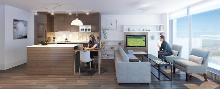 moderno arredamento open space cucina e zona soggiorno, pavimento in parquet e pareti bianche