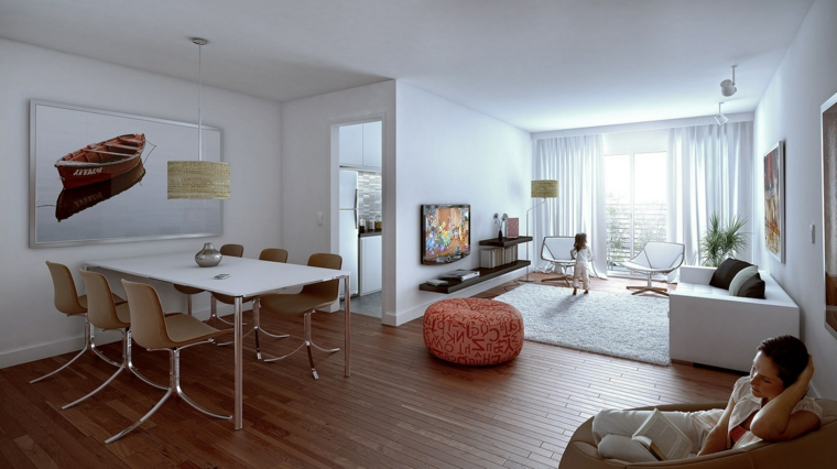 open space con tavolo per il pranzo per sei persone, divano bianco, parquet: mobili soggiorno moderni