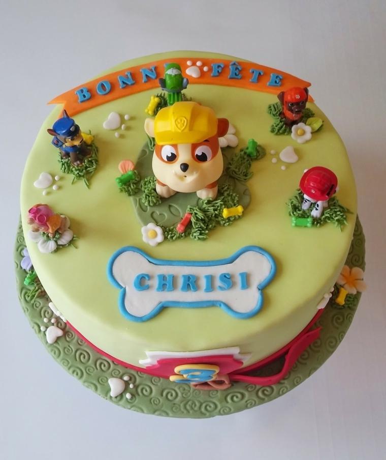 Immagini torte di compleanno, forma rotonda decorata con i cagnolini di Paw Partol