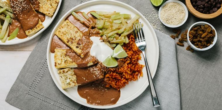ricetta sfiziosa con delle fette di tofu dorato, salsa, line, riso e verdure