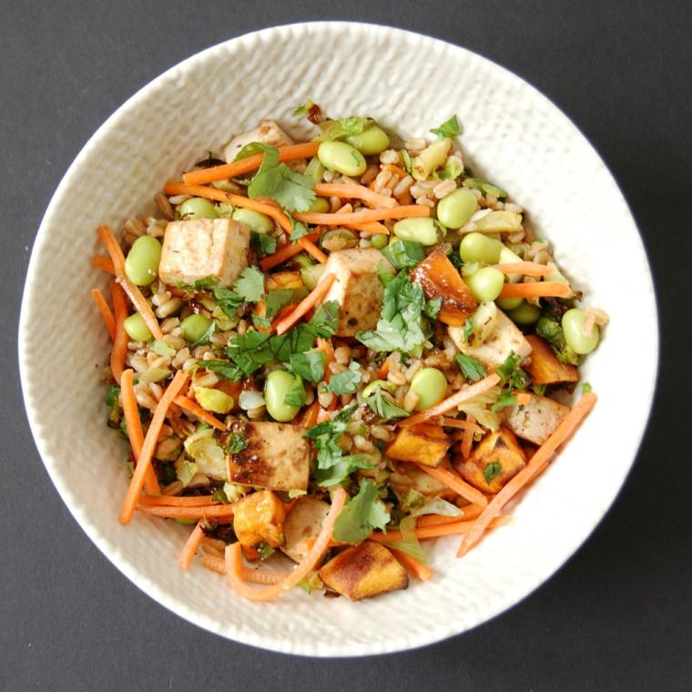 ricetta ricca di gusto e salute a base di tofu. soia. carote e coriandolo