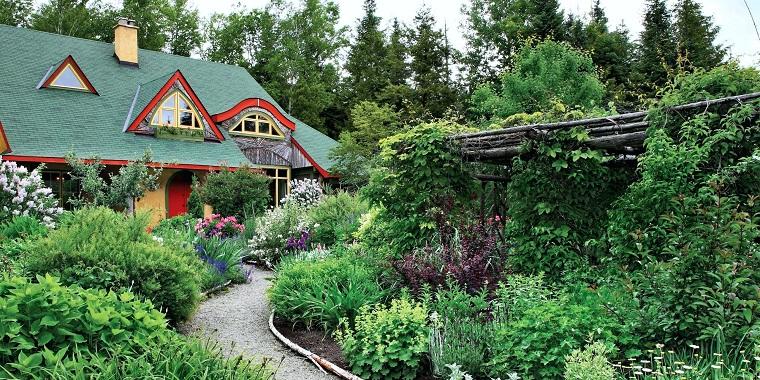 Una casa con tetto verde e un giardino con tante piante sempreverdi e fiori, camminamento lungo e stretto