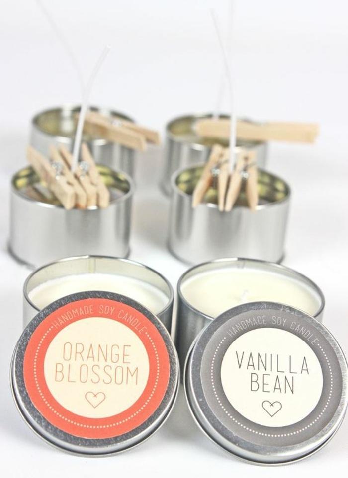 Come sciogliere la cera, portacandele in metallo con candele al profumo di arancia e vaniglia