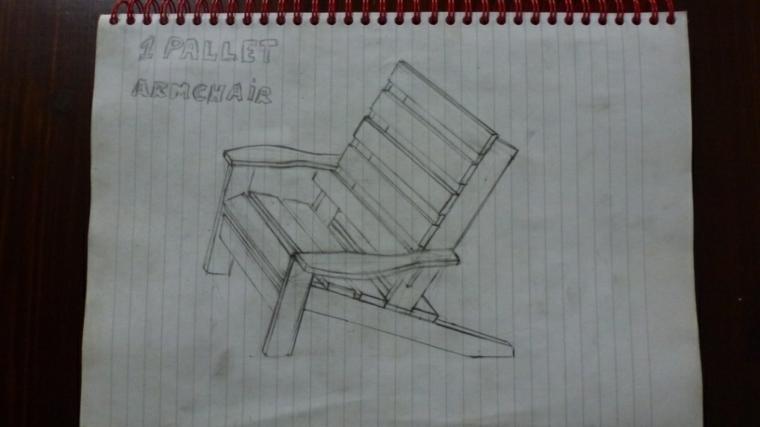 foglio con disegnato il progetto per realizzare dei mobili con pallet: una sedia fai da te