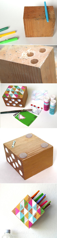 passaggi per oggetti fai da te casa, un contenitore di legno dalla forma quadrata con i buchi per inserire le penne