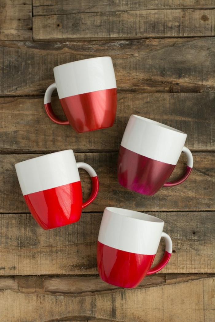 idea per realizzare delle creazioni fai da te da regalare a natale, delle tazze decorate