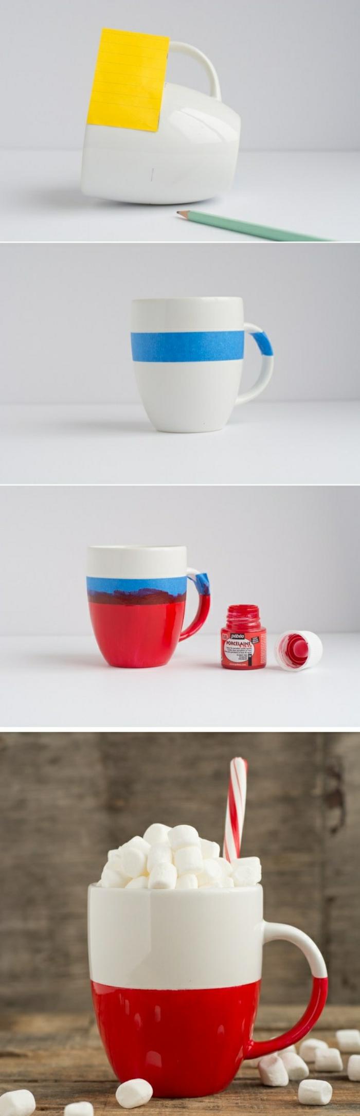 passaggi per fai da te bricolage, delle tazze bianche decorate e colorate, un'idea da regalare