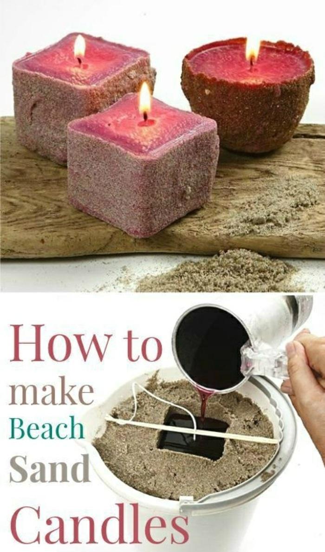 Candele fatte in casa, contenitore con sabbia e bucchino rettangolare per la cera