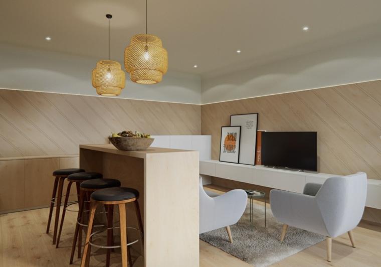 Arredare salotto e sala da pranzo insieme, mobile tv bianco sospeso, lampadario giallo sospeso