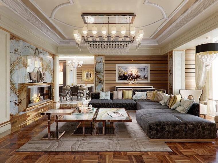 Arredare salotto e sala da pranzo insieme, soggiorno con tavolino, parete rivestita di marmo