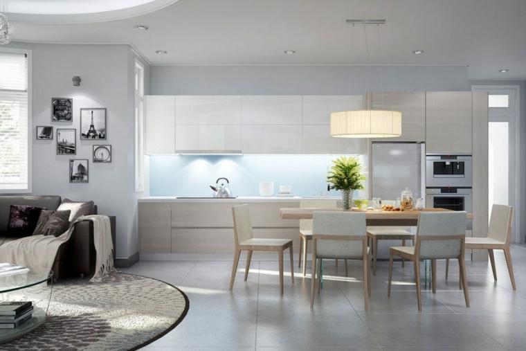 mobili chiari e moderni con cucina a vista, zona pranzo nel mezzo della stanza, soggiorno con divano e tappeto tondo