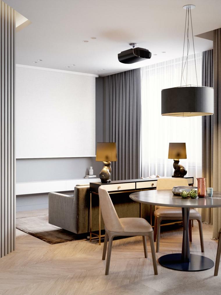 Arredare piccoli spazi, tavolo da pranzo rotondo, divano colore grigio