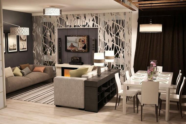 Salotto con due divani, tavolo da pranzo bianco, parete divisoria trasparente