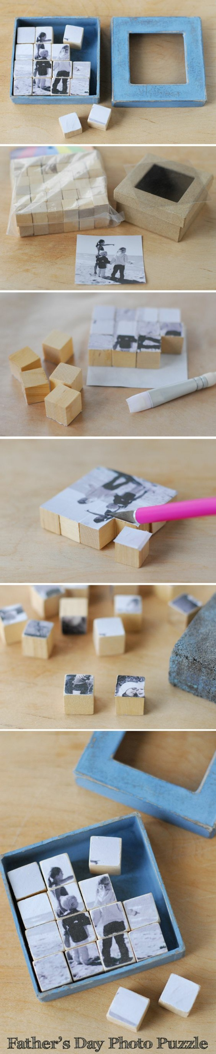 idea regalo oggettistica fatta a mano, una scatola contenente un puzzle di cubi di legno con le foto