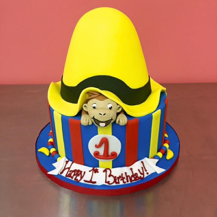 Torte bellissime per bimbo di un anno, decorazione circo con scimmietta e scritta Happy Birthday
