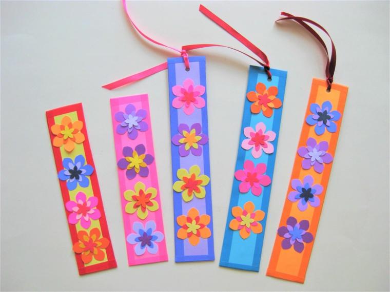 idea per lavoretti creativi festa della mamma dei segnalibri con dei fiori colorati