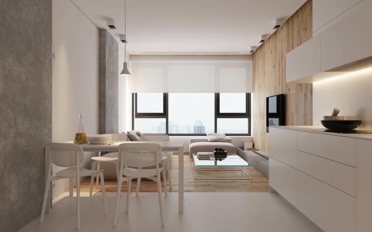 Arredare salotto piccolo, cucina con mobili bianchi, pavimento soggiorno laminato