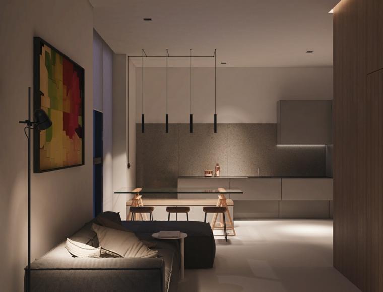 Tavolo da pranzo in vetro, arredare cucina soggiorno ambiente unico, divano di colore grigio