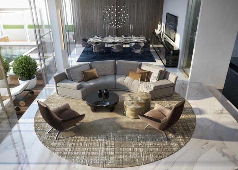 Divano di pelle angolare, tappeto rotondo da salotto, sala da pranzo nel soggiorno