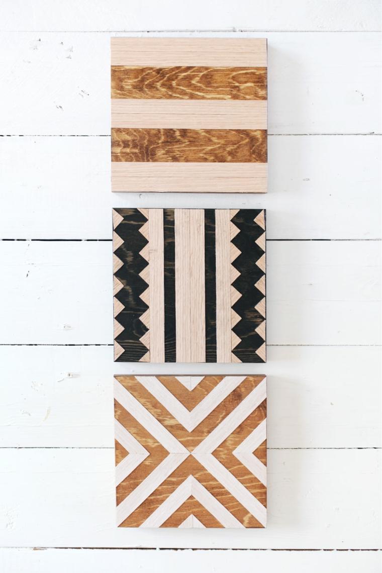 tre diverse decorazioni per dei sottopentola in legno, lavoretti per la festa della mamma