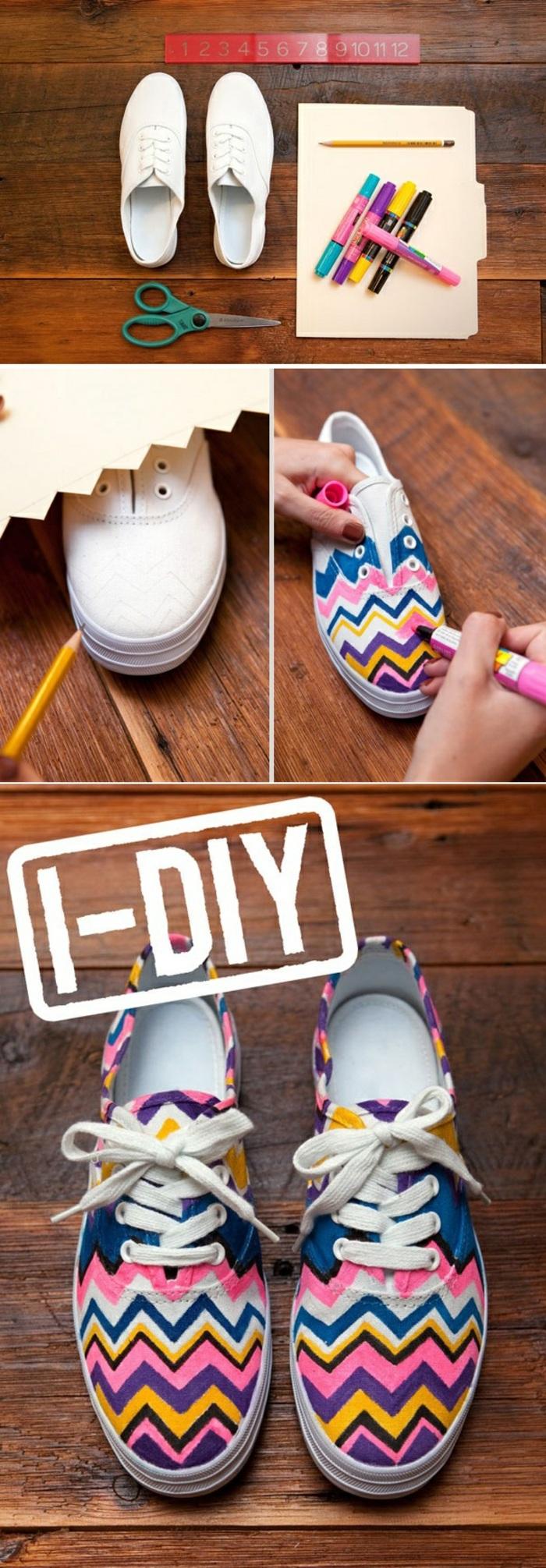 lavoretti da realizzare con i bambini, delle scarpe da tennis decorate con moti vi geometrici