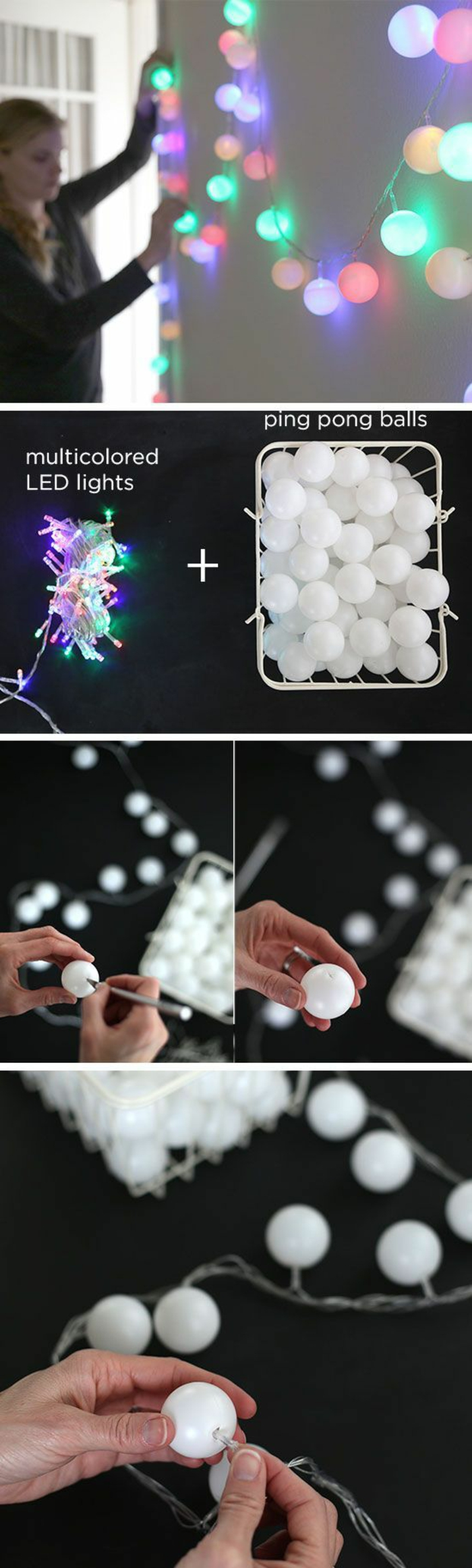 una ghirlanda luminosa realizzata utilizzando delle palline da ping pong