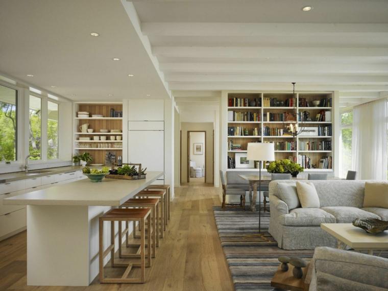 stanza rettangolare open space con cucina a isola, divani grigi, libreria e pavimento in parquet