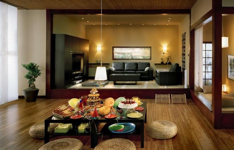 open space con zona pranzo in stile orientale e soggiorni moderni con divani in pelle nere