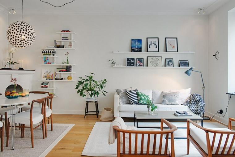 design scandinavo con divano, sedie, mensole e tavolo bianchi con inserti in legno, idea per arredare salotto e sala da pranzo insieme