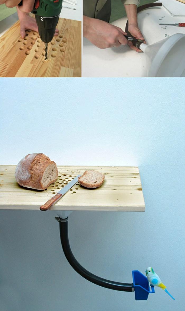 esempio per realizzare delle creazioni fai da te utili e originali, un tagliere per il pane con aspirabriciole
