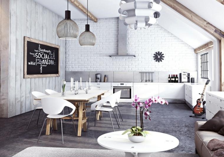 open space con mobili soggiorno moderni con cucina bianca, tavolo da pranzo bianco e divano lineare