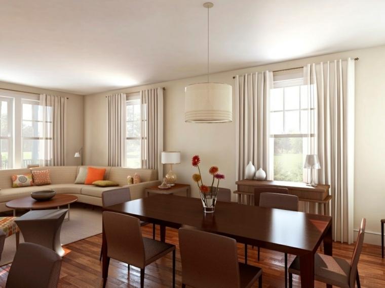 pareti e tende bianche, pavimento in parquet con tavolo e sedie in legno, idee per tinteggiare il salotto