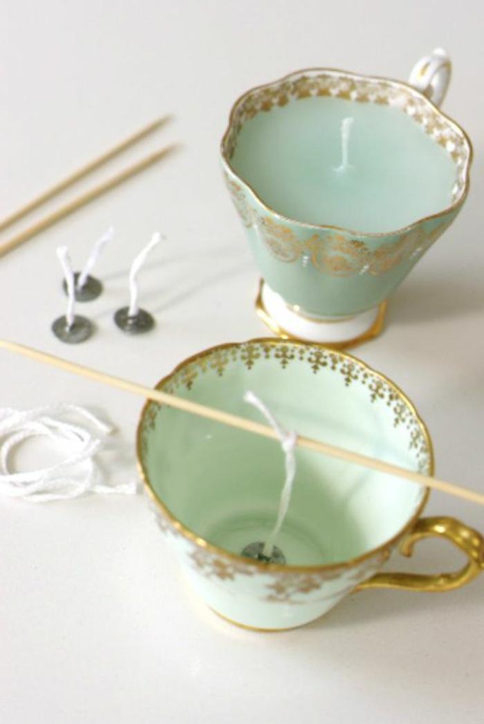 Candele fatte in casa, portacandele tazzine da tè con stoppino fai da te