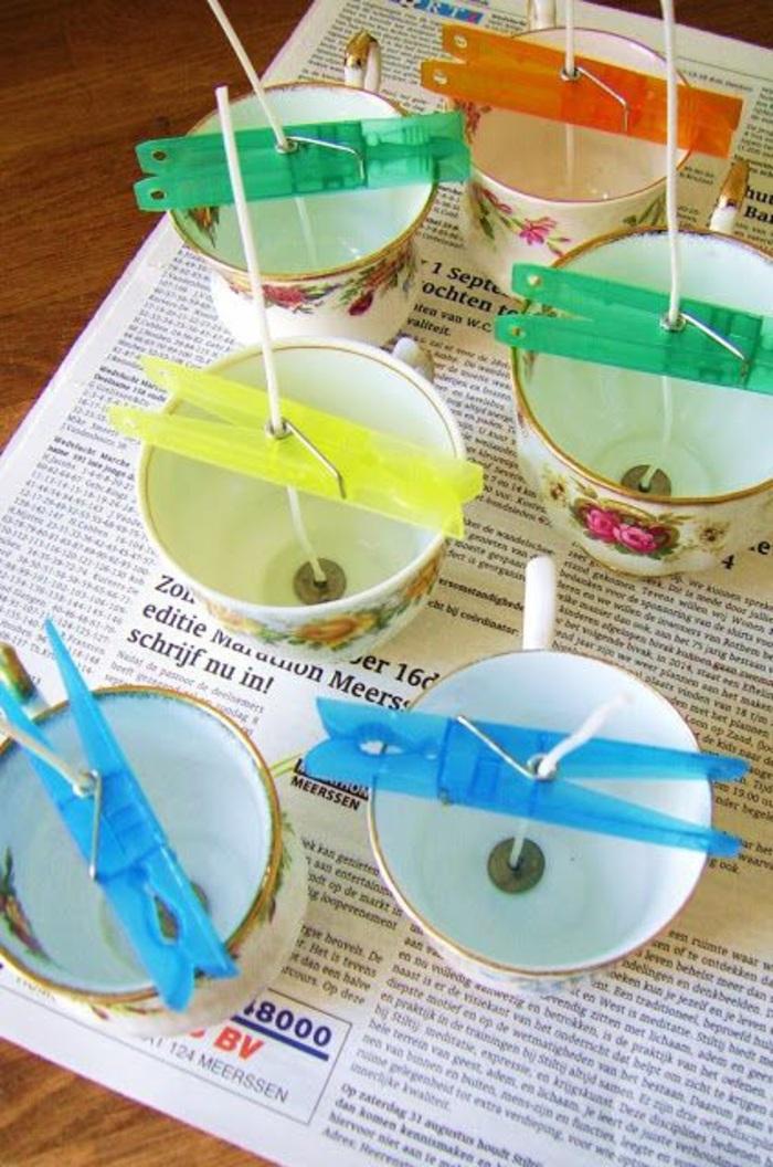 Come fare stoppino per candele, tazzine di porcellana come portacandela