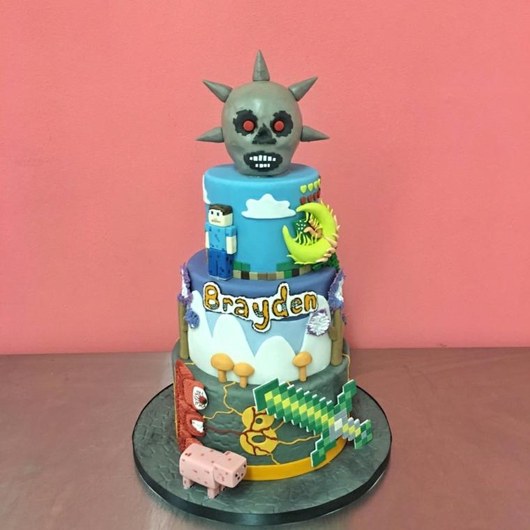 Torta Minecraft con il nome del bimbo, immagini torte compleanno da copiare