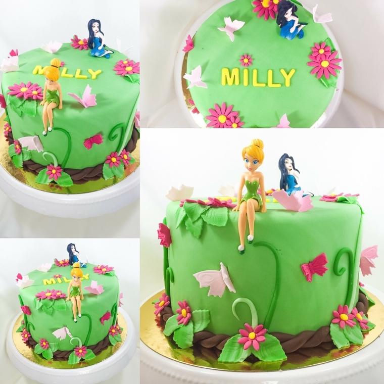 Torta rotonda di colore verde, decorata con la fatina Trilly e fiorellini