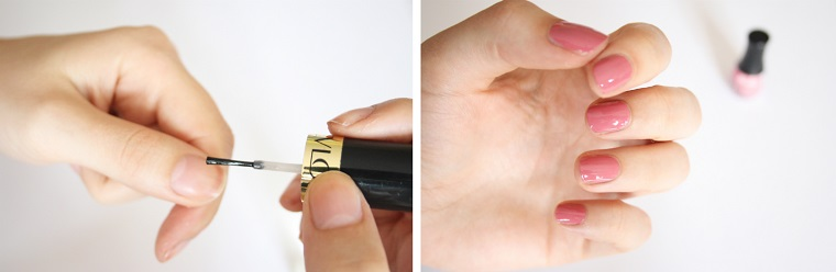 Idea per unghie gel particolari, boccetta con smalto di colore rosa lucido, manicure corta forma arrotondata