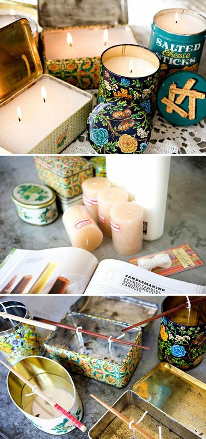Utilizzare scatole di metallo come portacandela, come fare candele artistiche