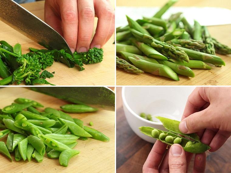 Tagliare le verdure, Idee per cena, ingredienti tagliati su un tagliere di legno con coltello
