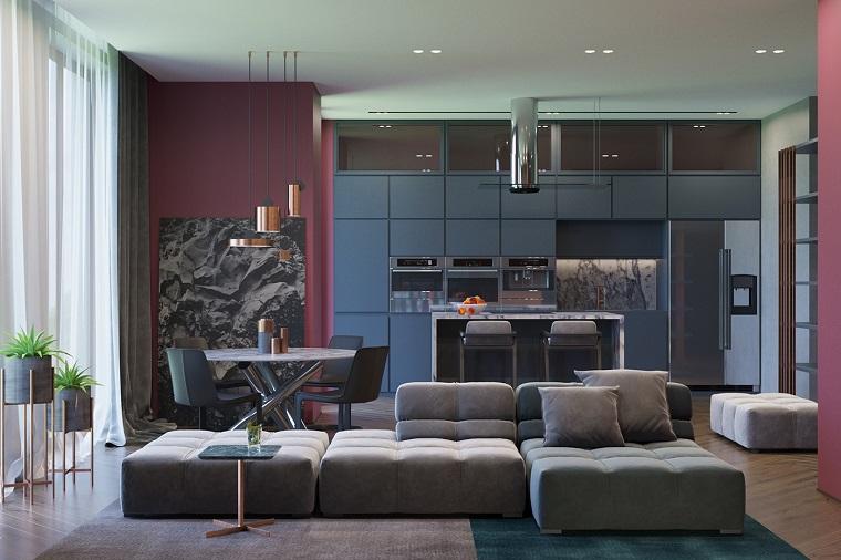 Cucine e soggiorni abbinati trendy zona pranzo laccato for Colori per pareti sala da pranzo