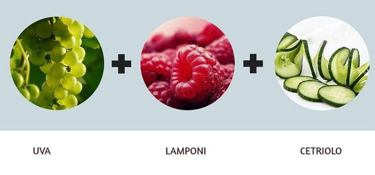 Ricette detox a base di uva, lamponi e cetriolo, bevanda con acqua e la frutta